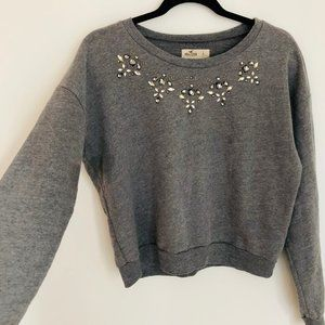 NWT Hollister Gray Crystals Rhinestone Sweater SzL